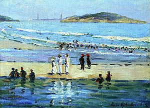 Louise Upton Brumback - Louise Upton Brumback, Bathers Along the Shore, 1910, oil on panel, height: 25.4 cm (10 in.), width: 35.56 cm (14 in.)