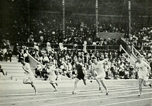 Athletics at the 1912 Summer Olympics – Men's 100 metres - Immediately after the start of the final.