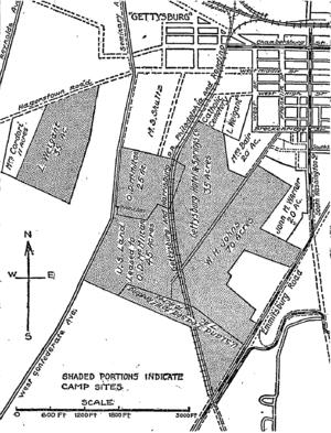 Gettysburg and Harrisburg Railway - Image: 1913 Gettysburg reunion map