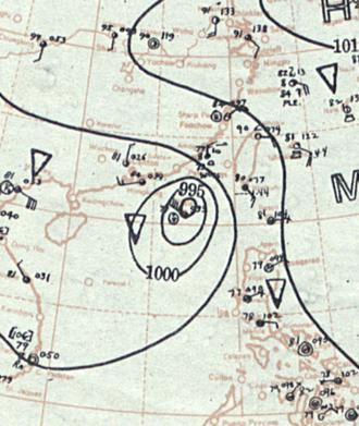 1937 Great Hong Kong typhoon - Image: 1937 Hong Kong typhoon analysis 1 Sept