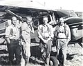 1952. Flight crew, left-to-right Dave Robinson, Bob Stevens, John Lanz, and unidentified. 1952 Blowdown and Bark Beetle Survey, Oregon. (34753433974).jpg