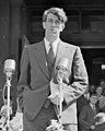1958 detail, Edmund Hillary giving speech on return from South Pole, 1958 (cropped).jpg