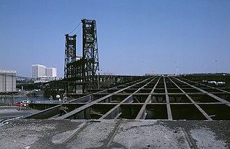 MAX Blue Line - Redecking work on the Glisan Street ramp of the Steel Bridge in 1985