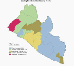 Liberian general election, 2005 - First round presidential map showing the winners of each county