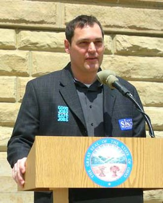 Zack Space - Zack Space speaking to the Workers Memorial Day rally at the Tuscarawas County Courthouse in New Philadelphia, Ohio in April 2006