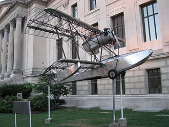 Savoia-Marchetti S.56 - The Budd BB-1 Pioneer in front of the Franklin Institute.