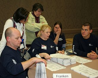 United States Senate election in Minnesota, 2008 - Recounting ballots by hand in Olmsted County.