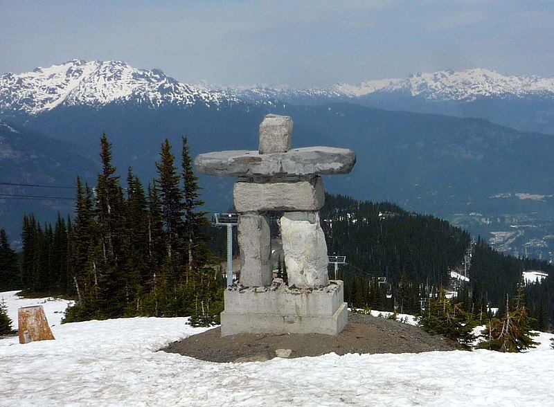 Statue of Ilanaaq the Inunnguaq, mascot of the 2010 Winter Olympics, located at the top of the Whistler Village Gondola at the Whistler Blackcomb resort.