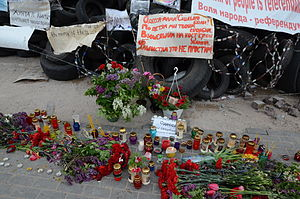 2014 Odessa clashes - A memorial to those who died in the clashes at a barricade made of tyres in Donetsk