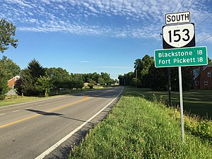 Virginia State Route 153 - View south along SR 153 at SR 38