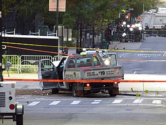 2017 New York City truck attack - Rental truck used in the attack, seen the morning after