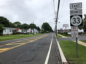 New Jersey Route 33 - View east along Route 33 Business at Route 79 in Freehold