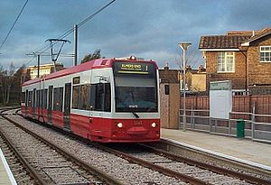 Tramlink route 1 - 2543 at Dundonald Road stop, the first stop after Wimbledon, on a test run prior to the system's opening to the public