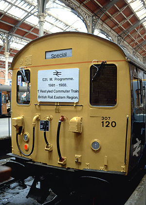 British Rail Class 307 - Refurbished British Railways Class 307 train showing the special headboard carried at the launch of the first refurbished train.