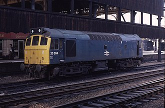 British Rail Class 25 - 25304 of the 25/3 subclass at Manchester Victoria in 1982.