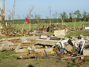 Tornado outbreak of May 1–2, 2008 - Tornado damage near Damascus, Arkansas.