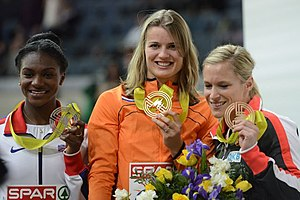 Dafne Schippers - Schippers after winning the 60 metres in Prague in 2015