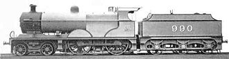 Midland Railway 990 Class - The official photograph of 990 in photographic grey livery