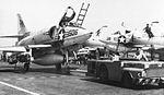 A-4B of VA-95 is towed on the flight deck of USS Intrepid (CVS-11) in 1966.jpg