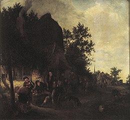 Peasants drinking before an inn