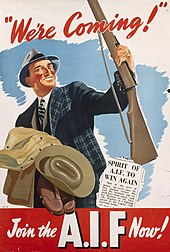 A drawing of a man wearing a 1940s-era business suit and hat cradling a military uniform in his right arm and holding a rifle with his left hand. There is a blue background behind the man and a cutting from a newspaper to the right of him.