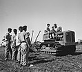 A DEMONSTRATION OF A TRACTOR FOR STUDENTS OF THE RUPPIN AGRICULTURAL TRAINING CENTER. מכללת רופין לחקלאות. בצילום, סטודנטים לומדים כיצד לתפעל טרקטור שD592-079.jpg