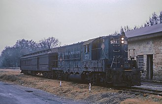 Atlanta and West Point Railroad - A short AWP passenger train at Crawford, GA, station on November 24, 1967
