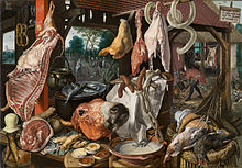 Detailed painting of a variety of meat products in a Renaissance-era butcher's stall