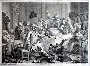 Punch (drink) - Gentlemen enjoying punch in about 1765, by William Hogarth