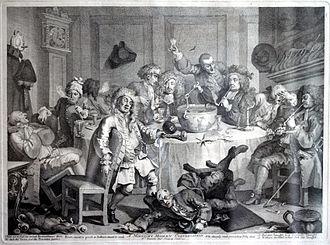 Punch (drink) - Gentlemen enjoying punch in about 1765, by William Hogarth