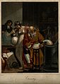 A man conducts an alchemical experiment with an alembic, in Wellcome V0007506.jpg