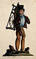 A man is carrying a knife grinder's wheel on his back. Water Wellcome V0039704.jpg