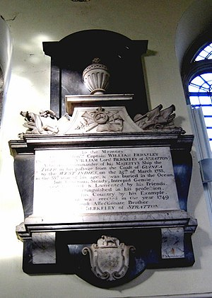 HMS Tyger - Monument to William Berkeley in the Church of St Mary, Bruton, Somerset. He was captain of HMS Tyger in 1733 when he died and was buried at sea
