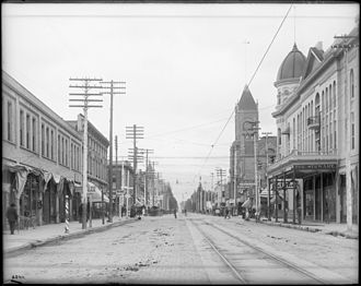 "San Bernardino, California - A view of ""E"" Street and the Stewart Hotel, San Bernardino, ca.1905"
