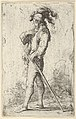 A warrior facing left wearing a plumed hat and holding a cane, from the series 'Figurine' MET DP836196.jpg