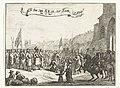 Aankomst van de prins bij Exmouth, 1688 In tree van S.K.H. tot Exon, den 18 Nov.r (titel op object) Vier platen over de landing en ontvangst van Willem III in Engeland in 1688 (serietitel), RP-P-OB-82.588.jpg