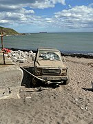Abandoned Car tethered to the Nigg Breakwater (geograph 2030562).jpg