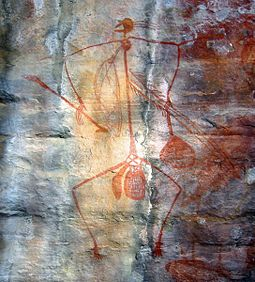 Rock painting at Ubirr in Kakadu National Park. Evidence of Aboriginal art in Australia can be traced back some 30,000 years. Aboriginal Art Australia.jpg