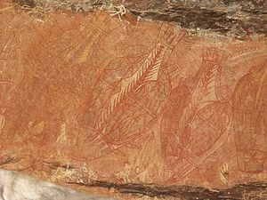 Barramundi - Indigenous Australian rock art depicting barramundi fish
