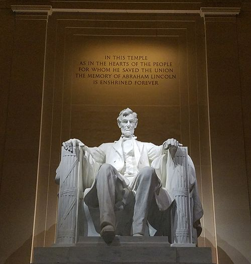 The Lincoln Memorial, built to honor the 16th President of the United States, Abraham Lincoln.