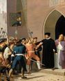 Adam Müller - Hans Tausen beskytter biskop Rønnow mod de opbragte københavnske borgere - 1836.png