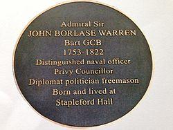 Admiral sir john borlase warren plaque