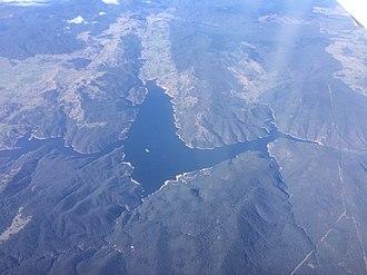 Burrinjuck Dam - Aerial view of Burrinjuck Dam, 2017