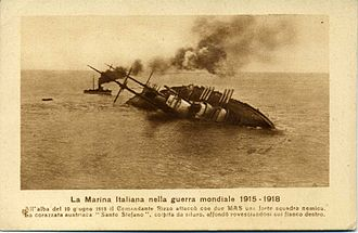 Adriatic Campaign of World War I - The last moments of SMS Szent István, hit by a torpedo of the Italian MAS of Luigi Rizzo.