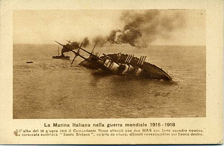 SMS Szent Istvan moments before its sinking by the Italian MAS Affondamento Santo Stefano.jpg