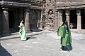 Ajanta Caves, India, The front courtyard of ancient Buddhist monastery.jpg
