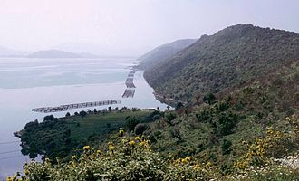Agriculture in Albania - A mussel cultivation facility in Lake Butrint.
