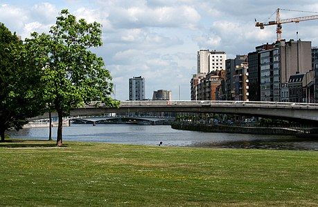 The Meuse in Liege - Wallonia - Belgium. We can see the bridge 'Albert' and the 'Passerelle'