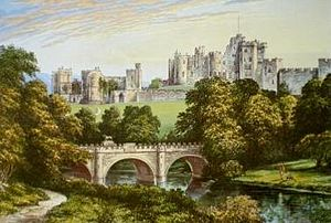 Alnwick Castle - Alnwick Castle, chromolithograph by Alexander Francis Lydon, 1870