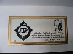 İzmir Alsancak Stadium - A plate with figure of Mustafa Kemal Atatürk with his state about Altay S.K. during a visit of himself to the club in 1925. The plate is located on an interior wall of Alsancak Stadium, Izmir